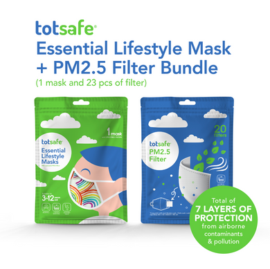 Totsafe Essential Lifestyle Masks and Totsafe PM2.5 Filter - Bundle