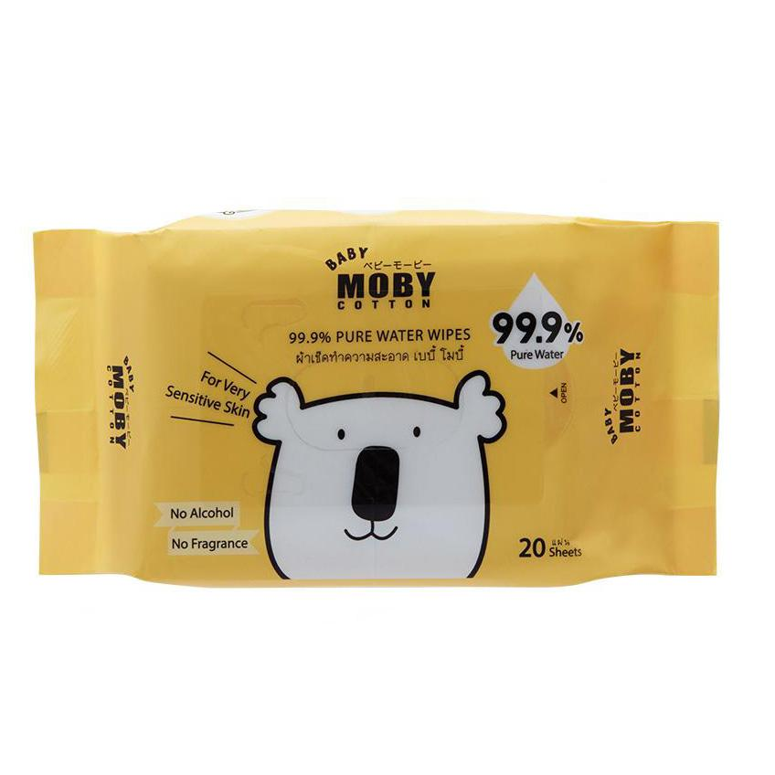 Baby Moby Pure Water Wipes with case 20's