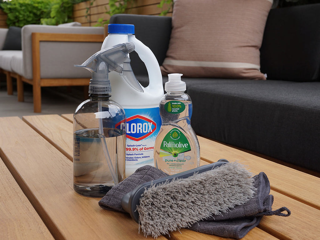 Cleaning supplies for outdoor cushions