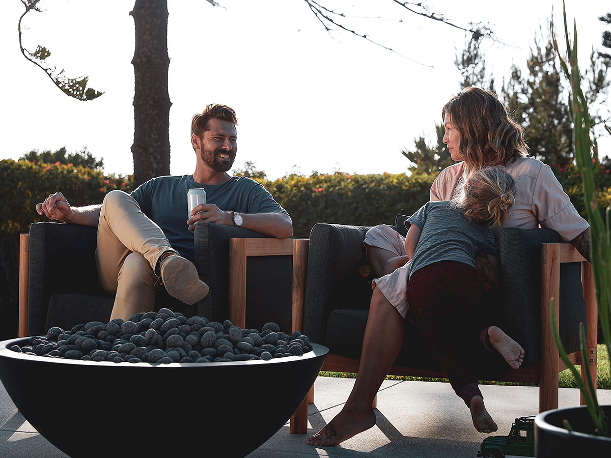 Couple by firepit