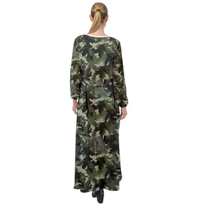 Military Pattern Maxi Chiffon Beach Wrap