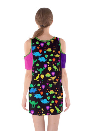Colour-spring-green Shoulder Cutout One Piece Dress