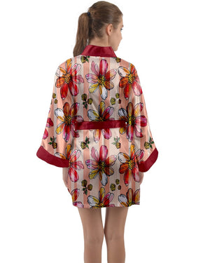 Red Floral Print Long Sleeve Satin Kimono Robes