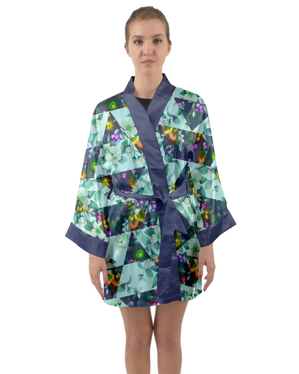 Patchwork Cute Robe Long Sleeve Satin Kimono