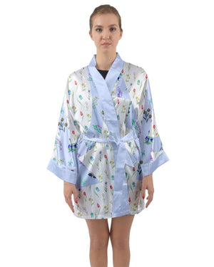 Cute Floral Lightweight Long Sleeve Satin Kimono
