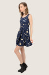 Navy Night Moon and Stars Skater Dress