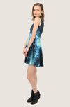Shining Blue Skater Dress