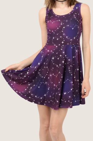Pink Heart Night Skater Dress