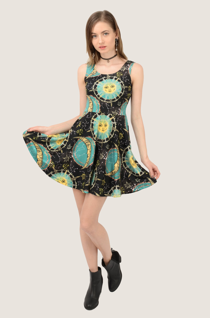 Turquoise Astrology Skater Dress