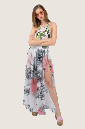 Rose Day Pink Maxi Chiffon Tie-Up Sarong