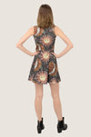 Brown Astrology Skater Dress