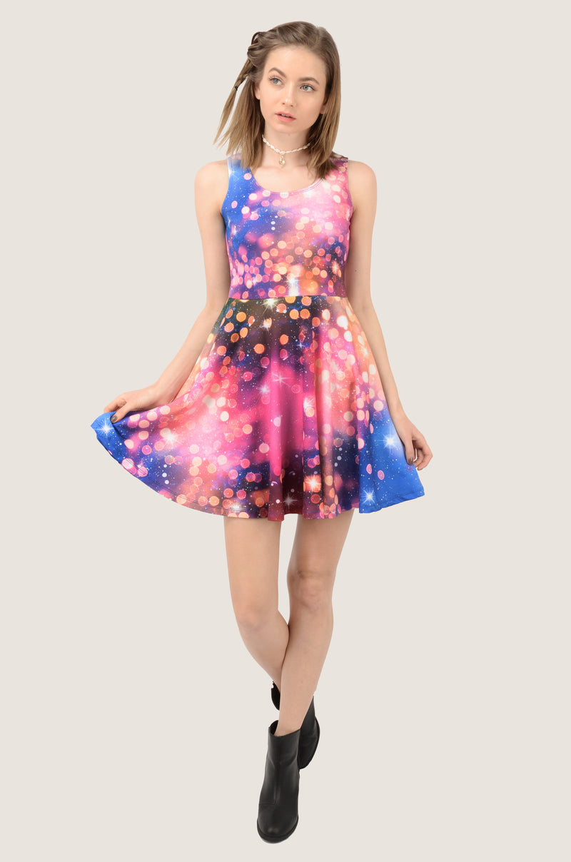 Stars In Pink Dream Skater Dress