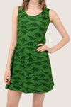 Green Dinosaur Silhouettes Sleeveless Dress
