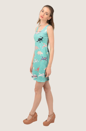 Mint Dinosaur Pattern Sleeveless Dress