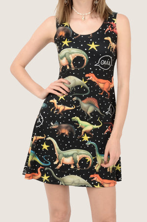 Dark Dinosaur Walking Reversible Sleeveless Dress