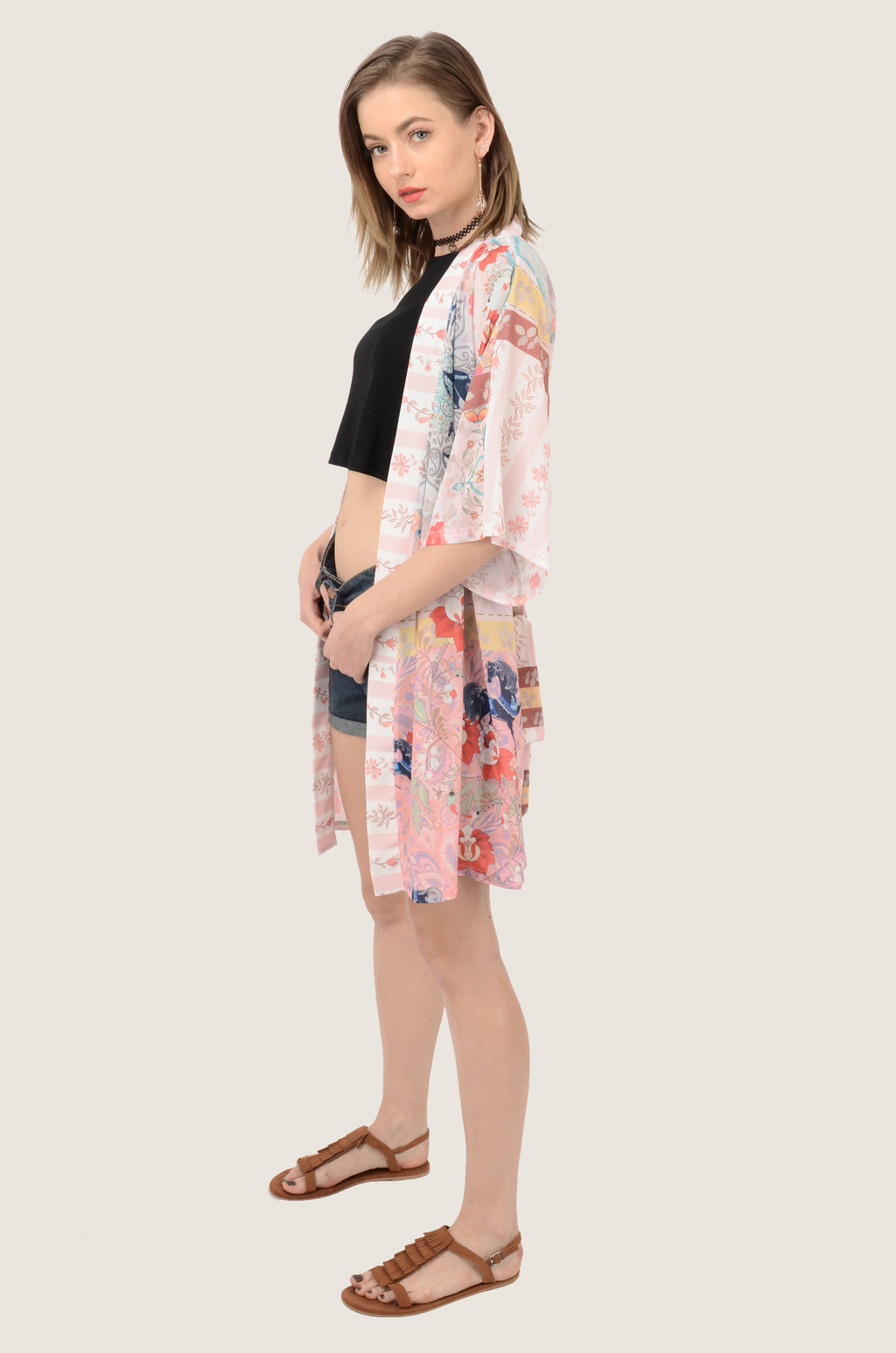 Vintage Horse Floral Pink Patchwork Half Sleeve Chiffon Kimono