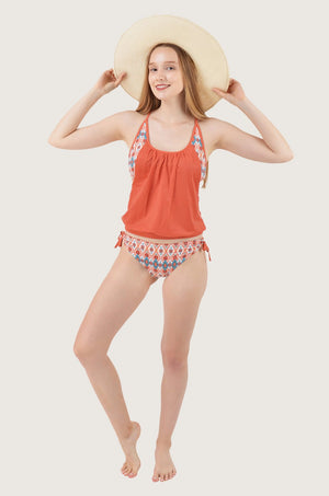Orange Aztec Tankini Set