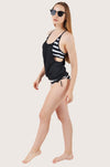 Black & White Stripes Tankini Set
