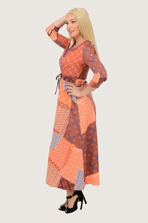 Arab Patchwork Boho Maxi Dress