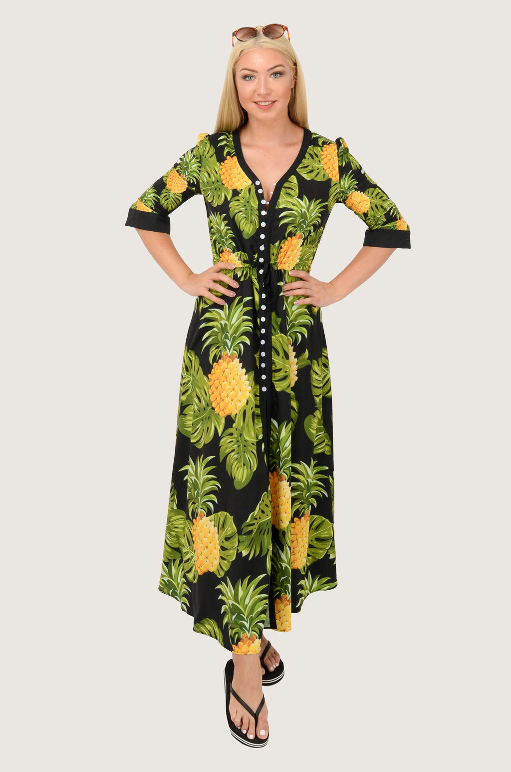 Pineapple Black Boho Maxi Dress