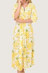 Yellow Pineapple Boho Maxi Dress