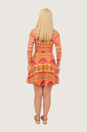 Tribal Native American Off Shoulder Skater Dress