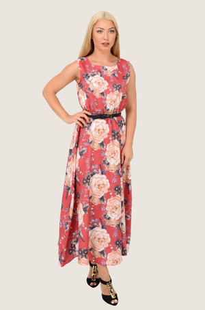 Red Vintage Roses Chiffon Maxi Dress