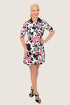 Pink Roses Belted Shirt Dress