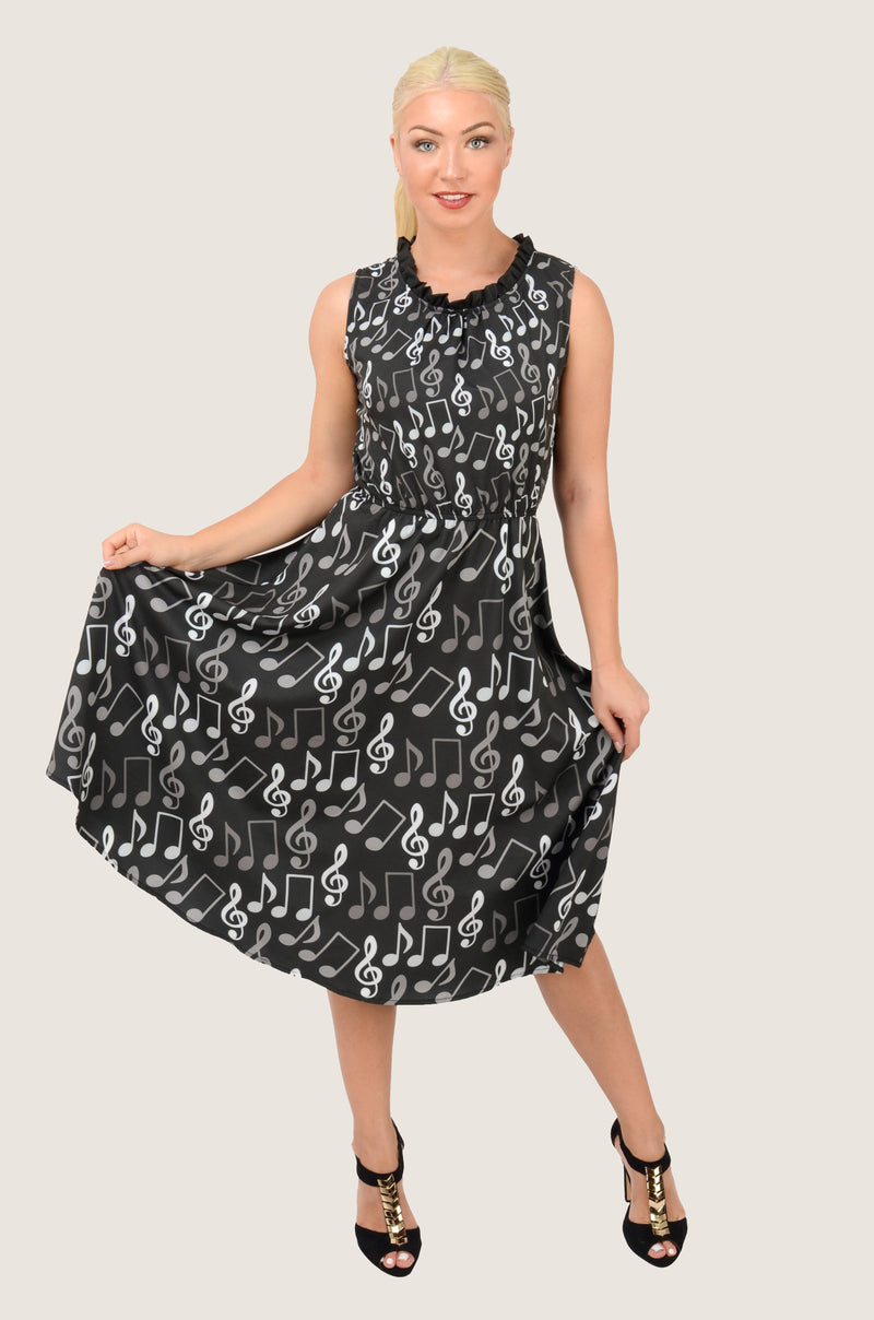 Treble Clef Round Neck Midi Dress