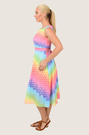 Rainbow Chevron Midi Chiffon Dress