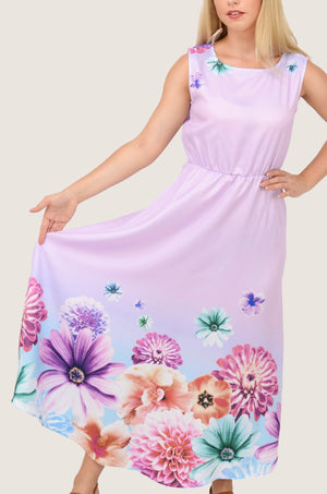 Lavender Vintage Chiffon Maxi Dress