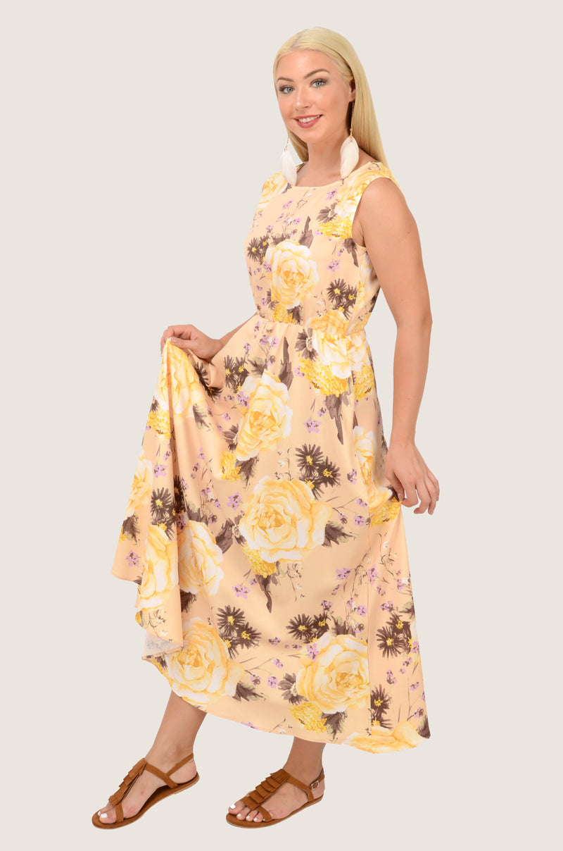 Yellow Roses Sleeveless Midi Dress