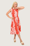 Frangipani Red Round Neck Midi Dress