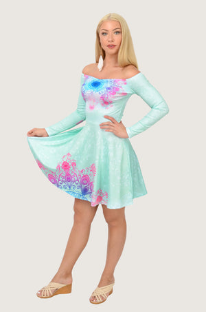 Mint Aztec Off Shoulder Skater Dress