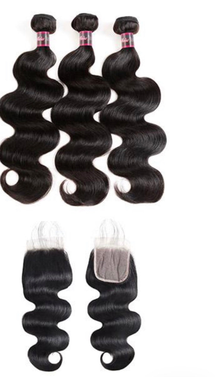 Transparent Body Wave/Straight 3 Bundles With 4*4 Closure