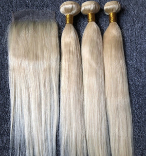 Blonde Color Straight/Body Wave 3 Bundles With 5x5 Closure Deals