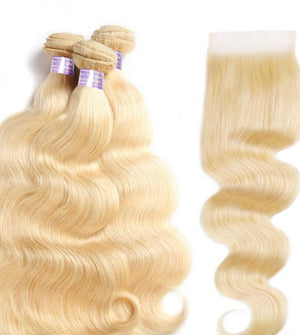 613 Blonde Straight/Body Wave 3 Bundles With 4*4 Closure