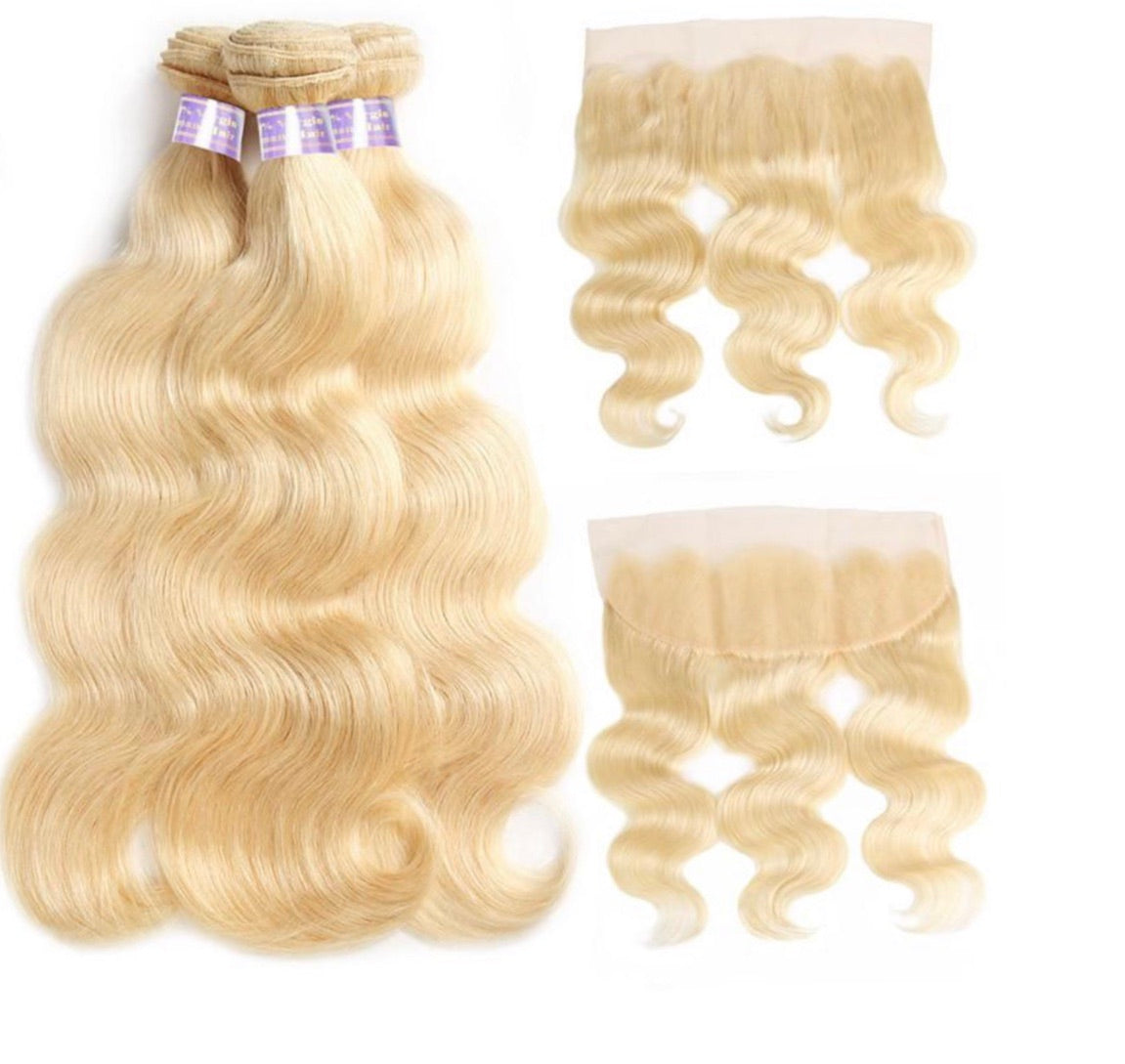 613 Blonde Straight/Body Wave 3 Bundles With 13*4 Frontal