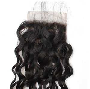 Water Wave Human Hair 4x4 Lace Closure