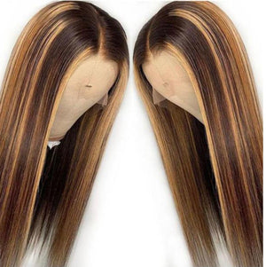 13*4 Straight Brown Highlights Human Hair Wigs Lace Front Wig