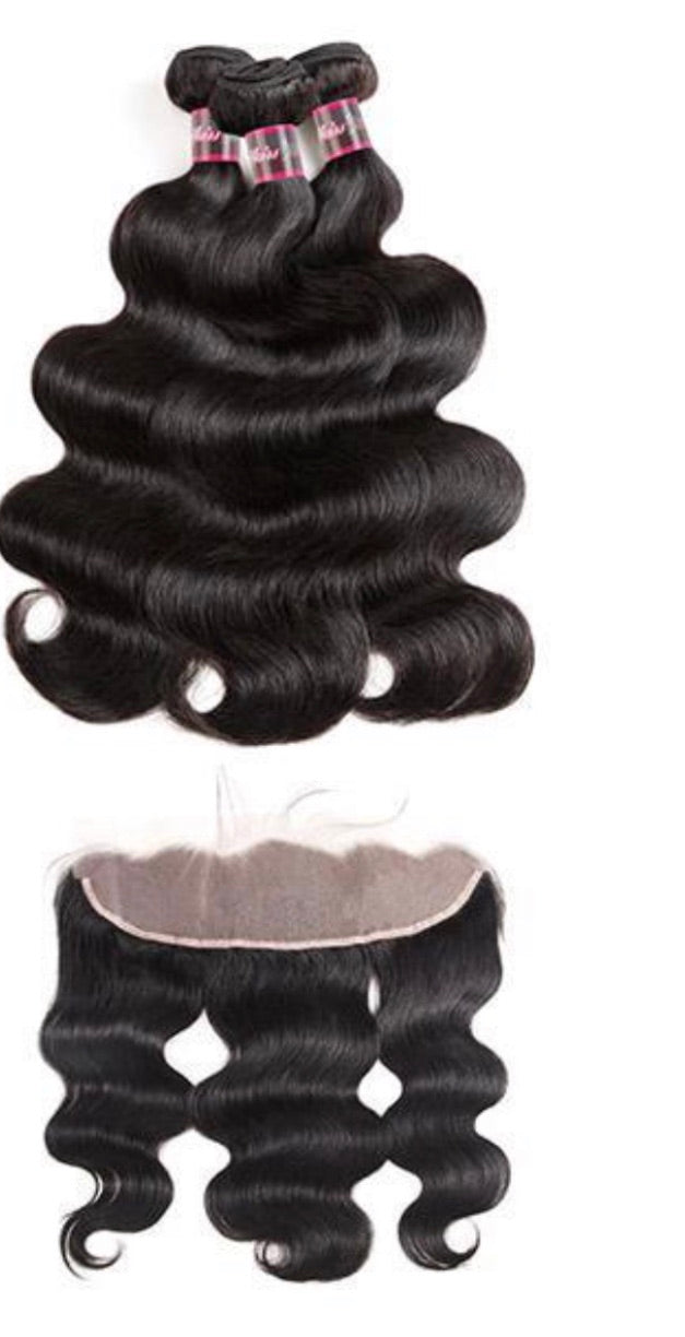 Transparent Body Wave/Straight 3 Bundles With 13*4 Frontal