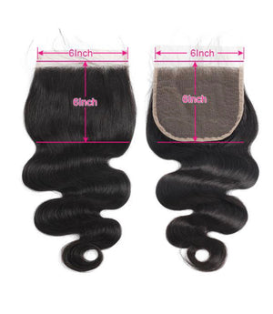 Body Wave Human Hair 6x6 Lace Closure