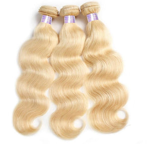 613# Blonde Hair 3 Bundles Virgin Body Wave Human Hair Weave