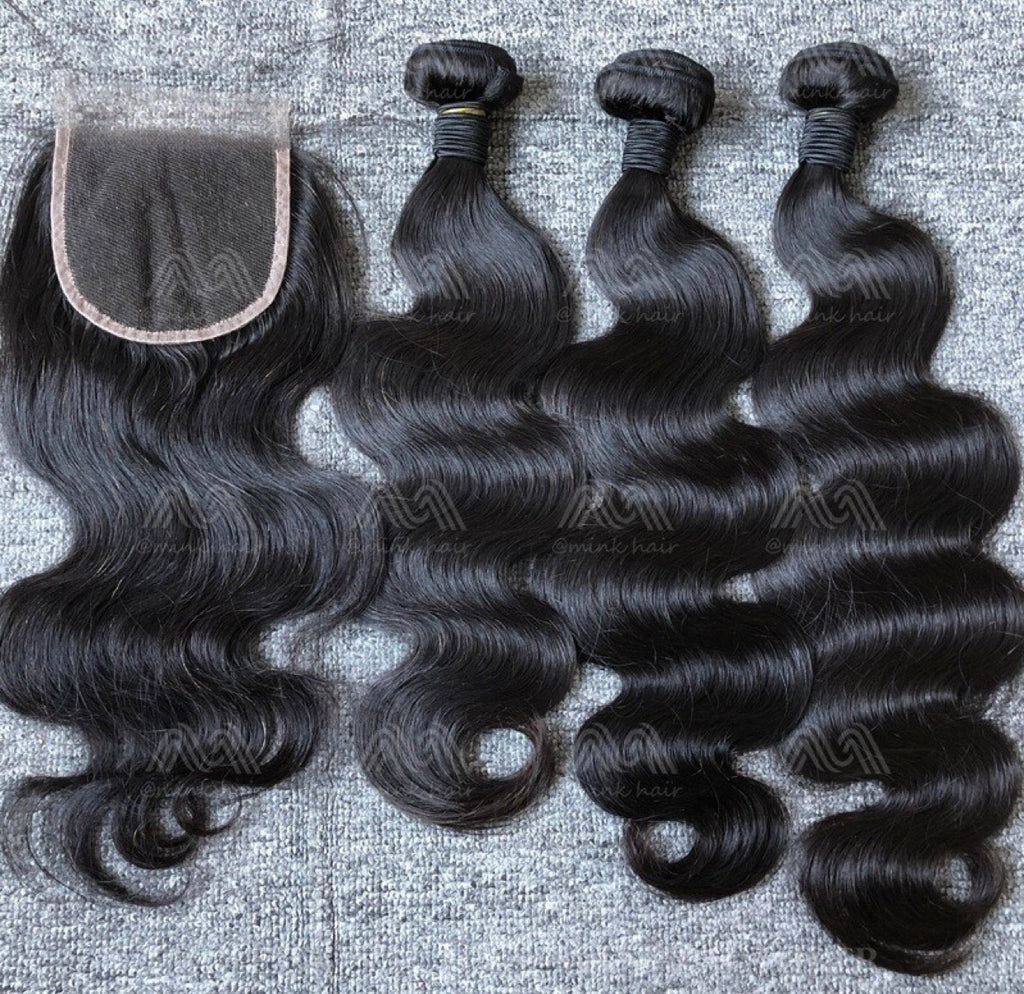 Mink Hair Straight/Body Wave 3 Bundles With 4x4 HD Closure Deals