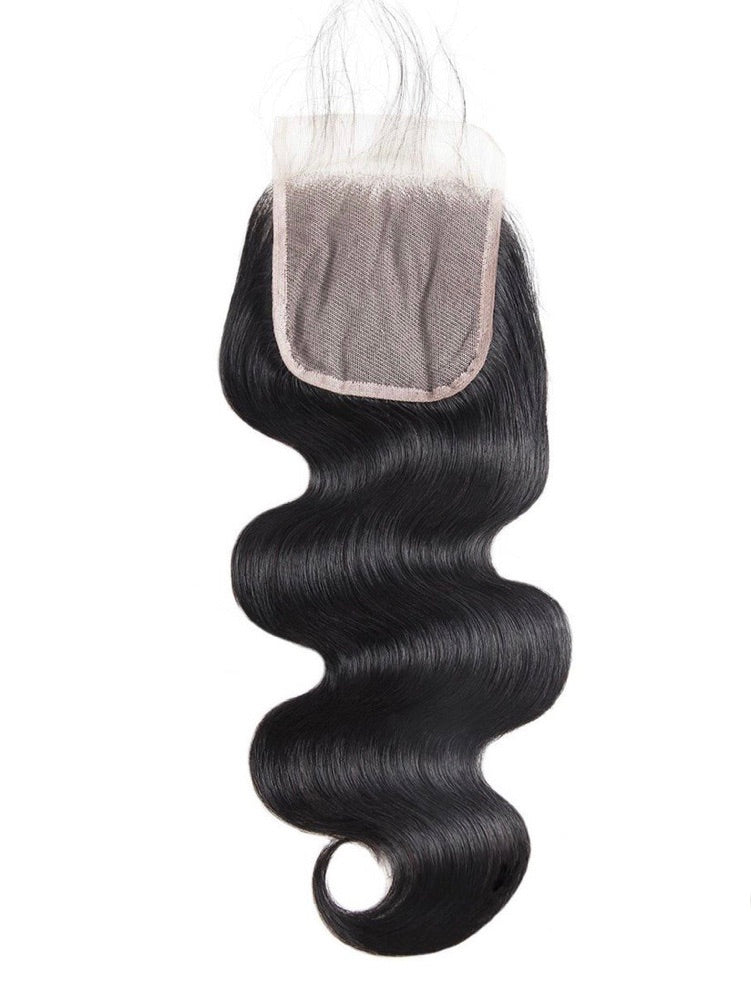 Body Wave Transparent Human Hair 4x4 Lace Closure