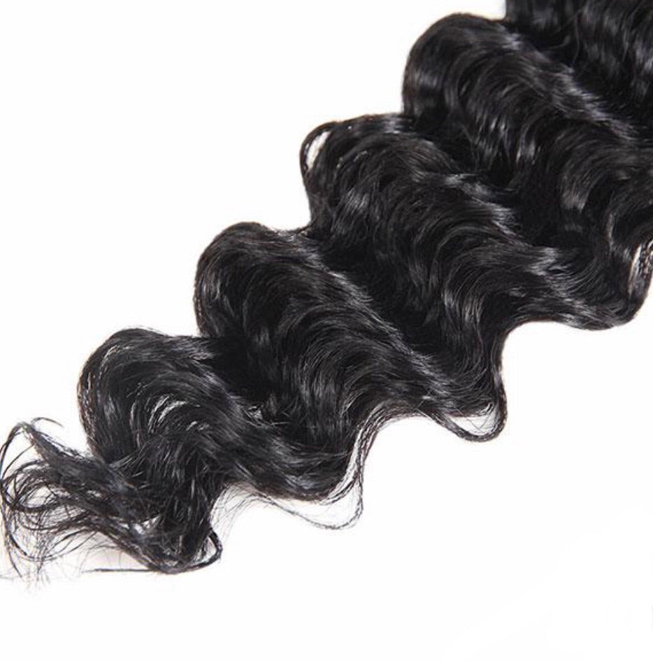 Deep Wave Virgin Human Hair Extensions 1 Bundle