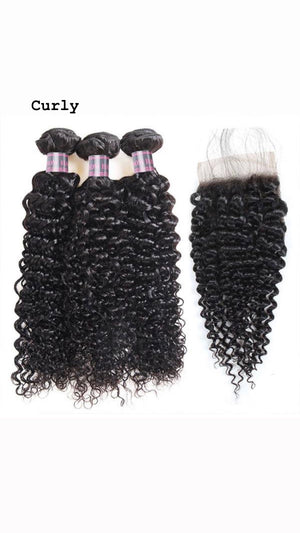 Peruvian 3 Bundles With 4*4 Closure