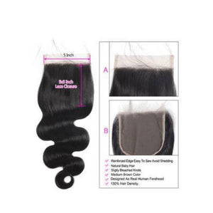 Body Wave Human Hair 5x5 Lace Closure