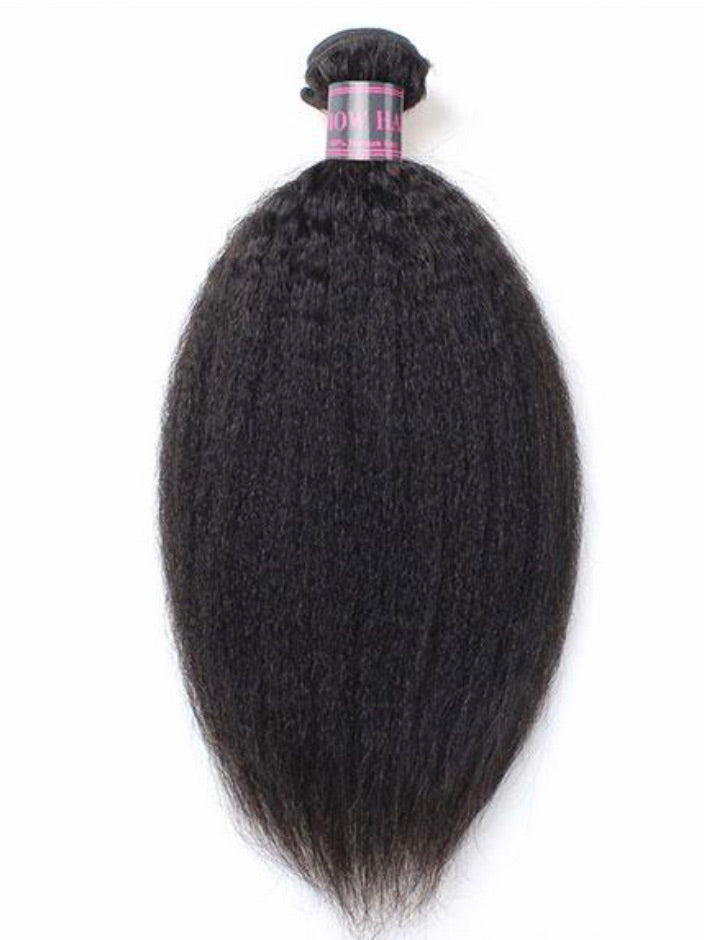 Kinky Straight Virgin Human Hair Extensions 1 Bundle