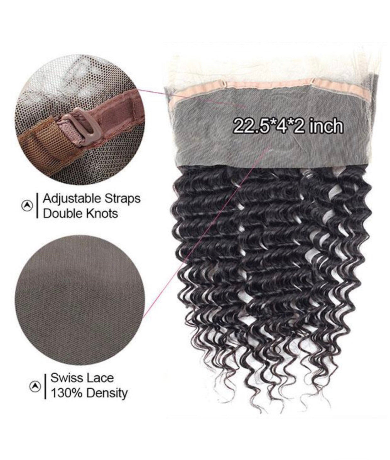 Deep Wave Human Hair 360 Lace Frontal